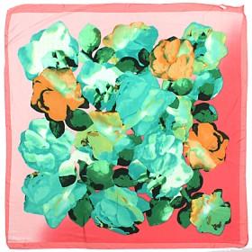 Платок головной 85*85см,    полиэстер 60%,    шелк 40%,    плетение атлас,    рис 4715,    розовый+зел