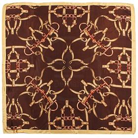 Платок головной 85*85см,    полиэстер 60%,    шелк 40%,    плетение атлас,    рис 4715_05,    коричневый