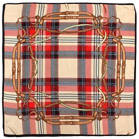 Платок головной 85*85см,    полиэстер 60%,    шелк 40%,    плетение атлас,    рис клетка,    бежевый