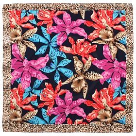 Платок головной 85*85см,    полиэстер 60%,    шелк 40%,    плетение атлас,    рис тигровые лилии,    синий