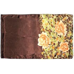 Шарф 50*160см,    полиэстер 60%,    шелк 40%,    плетение атлас,    рис яркие розы,    коричневый
