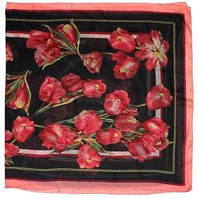 Палантин 90*180см шелк 100%,    плетение шифон,    рис тюльпаны,    черный+розовый