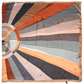 Палантин 90*180см шелк 100%,    плетение шифон,    рис геометрия,    серый+оранж