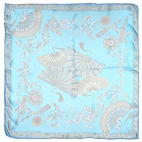 Платок головной 90*90см,    полиэстер 60%,    шелк 40%,,    плетение шифон,    рис веер,    голубой