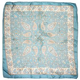 Платок головной 90*90см,    полиэстер 60%,    шелк 40%,,    плетение шифон,    рис восток,    зеленый