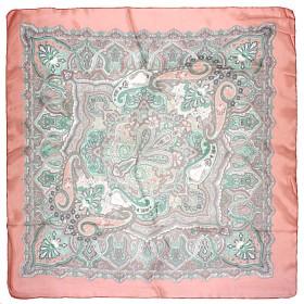 Платок головной 90*90см,    полиэстер 60%,    шелк 40%,,    плетение шифон,    рис узор,    розовый
