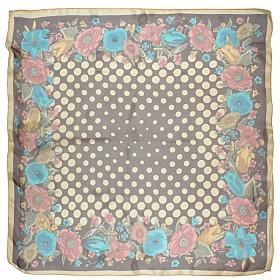 Платок головной 90*90см,    полиэстер 60%,    шелк 40%,,    плетение шифон,    рис 4715_32,    коричневый