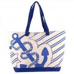 Сумка пляжная текстиль 1505   (якорь) ,    1отдел,    синий