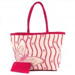 Сумка пляжная текстиль 1507   (бабочка) ,    1отдел,    розовый