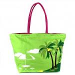 Сумка пляжная текстиль 1315    (пальмы) ,    1отдел,    зеленый