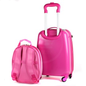 """Комплект 2в 1    (чемодан 45*22*30;    рюкзак 32*11*26) ,    пластик,    """"  Девочка"""" ,    розовый"""