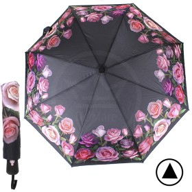 Зонт женский TR-35096AO,  R=56см,  полуавт;  8спиц-сталь+fiber;  3слож;  полиэстер,   (розовые розы)  черный 188479