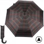 Зонт муж TR-35071,  R=56см,  полуавт;  8 спиц - сталь-fiber;  3 слож,  полиэстер,  (клетка)  коричн/серый 188498