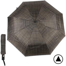 Зонт муж TR-3310,  R=56см,  полуавт;  8 спиц - сталь-fiber;  3 слож,  полиэстер,  (мелкая клетка)  коричневый  188761