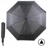 Зонт муж TR-3310,  R=56см,  полуавт;  8 спиц - сталь-fiber;  3 слож,  полиэстер,  (полоски)  черный  188770