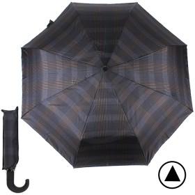 Зонт муж TR-35071,  R=56см,  полуавт;  8 спиц - сталь-fiber;  3 слож,  полиэстер,  (клетка)  синий/коричн 188793
