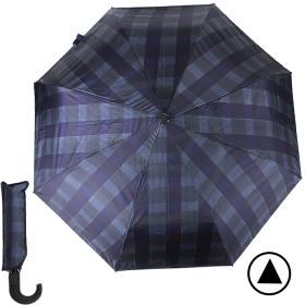 Зонт муж TR-35071,  R=56см,  полуавт;  8 спиц - сталь-fiber;  3 слож,  полиэстер,  (клетка)  синий/фиолет 188794