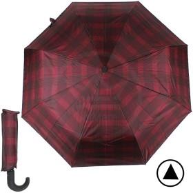 Зонт женский TR-35071,    R=56см,    полуавт;    8 спиц - сталь-fiber;    3 слож,    полиэстер,      (клетка)    бордовый