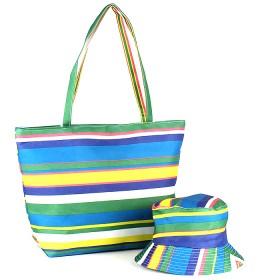 Комплект 118 (сумка пляжная+панама)  текстиль 067-HJ-147,  1отд,  полоска голубой 188824