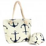 Комплект    (сумка пляж/ручки-канаты+бейсболка)    текстиль,    1отдел,    морской якорь бежевый