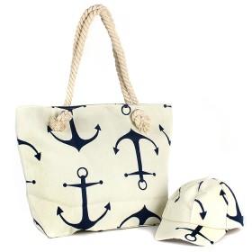 Комплект  (сумка пляж/ручки-канаты+бейсболка)  текстиль,  1отдел,  морской якорь бежевый 188828