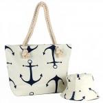 Комплект    (сумка пляж/ручки-канаты+панама)    текстиль,    1отдел,    морской якорь бежевый