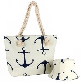 Комплект  (сумка пляж/ручки-канаты+панама)  текстиль,  1отдел,  морской якорь бежевый 188829
