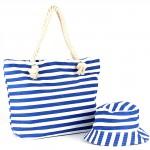Комплект    (сумка пляж/ручки-канаты+панама)    текстиль,    1отдел,    морские полоски