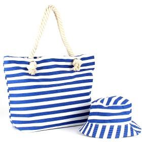 Комплект  (сумка пляж/ручки-канаты+панама)  текстиль,  1отдел,  морские полоски 188830