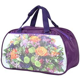 Сумка дорожная SKP-264 П-420,  1отд,  2внеш карм,  фиолет  (фото цветы)  188983
