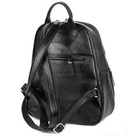 Сумка женская натуральная кожа Варвара-441-Б   (рюкзак) ,    1отд,    2внут+2внеш карм,    черная ящерица   (4035)