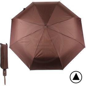 Зонт муж F 308SL,  R=56см,  полуавт;  8спиц-сталь+fiber;  3слож;  полиэстер,  коричневый 190607