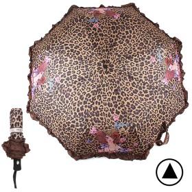 Зонт женский 20020,    R=56см,    полуавт;    8спиц-сталь+fiber;    3слож;    полиэстер,    оборка    (лео)       (УЦЕНКА сломана кнопка)    коричневый