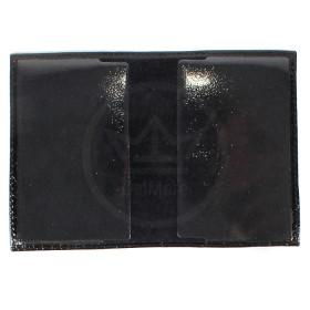 Обложка для паспорта PRT-П-21 натуральная кожа черный крокодил-12 лак 190823