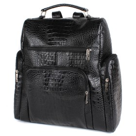 Сумка мужская натуральная кожа MT-608-3б   (рюкзак) ,    1отд,    2внут+3внеш карм,    черный кайман   (3050)