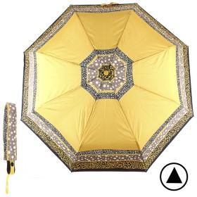 Зонт женский PR-3102,  R=55см,  полуавт;  8спиц-сталь+fiber;  3слож;  полиэстер,  желтый 192062