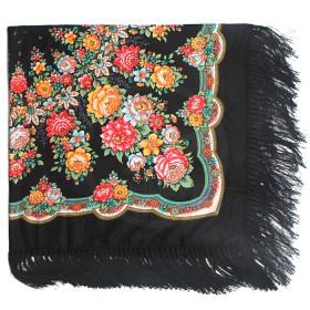 Платок головной 120*120см шерсть 80%,   вискоза 20%,    плетение вискоза,    рис павлопосад -8,    черный