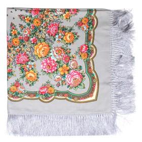Платок головной 120*120см шерсть 80%,   вискоза 20%,    плетение вискоза,    рис павлопосад -8,    серый