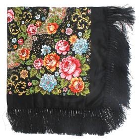 Платок головной 120*120см шерсть 80%,   вискоза 20%,    плетение вискоза,    рис павлопосад -9,    черный