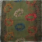 Палантин 80*180см полиэстер 100%,    плетение хлопок,    рис 230-200,    зеленый