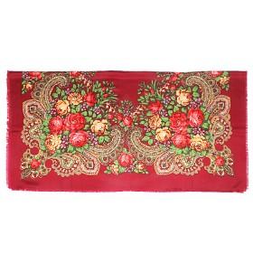 Платок головной 100*100см шерсть 80%,   вискоза 20%,    плетение вискоза,    рис павлопосад -3,    бордовый