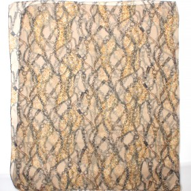 Палантин 80*180см вискоза 100%,    плетение хлопок,    рис цепи+ремни,    бежевый