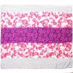 Палантин 80*180см полиэстер 100%,    плетение хлопок,    рис 230-179,    белый/розовый/фиолет