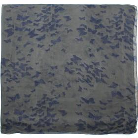 Палантин 80*180см полиэстер 100%,    плетение хлопок,    рис бабочки,    серый/синий