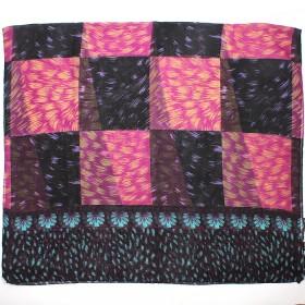 Палантин 80*180см полиэстер 100%,    плетение хлопок,    рис 230-186,    черный/бирюза