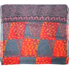 Палантин 80*180см полиэстер 100%,    плетение хлопок,    рис 230-186,    серый/розовый