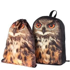 Комплект Юпитер-   (рюкзак+мешок) ,    уплотн.спинка,    1отд+перег,    1внут+3внеш карм,    черный,    сова