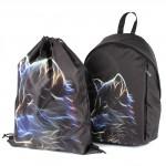 Комплект Юпитер-   (рюкзак+мешок) ,    уплотн.спинка,    1отд+перег,    1внут+3внеш карм,    черный,    волк
