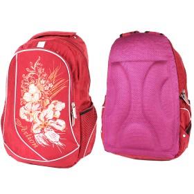 Рюкзак Арлион-257  эргоном спинка,    светоотр,    2отд,    2внеш карм,    бордо    (оранж цветы)