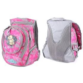 Рюкзак молодежный UfoPeople-13360 эргоном спинка,    3отд+2внеш карм,    розовый,   мишка